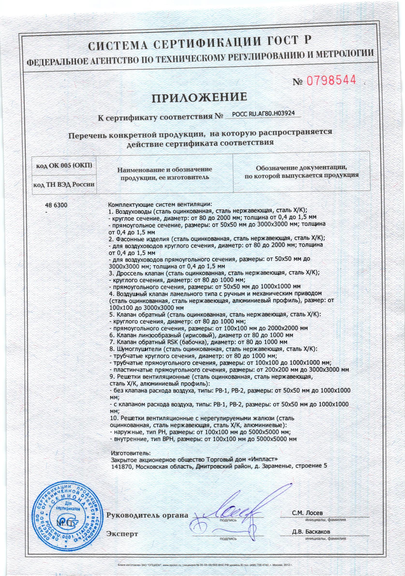 Сертификат или декларация на воздуховоды и фасонные элементы