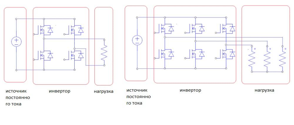 Принципиальные схемы однофазного и трехфазного инвертора