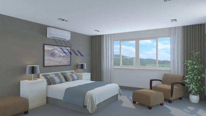 Кондиционер в спальне работает обычно в вечерние и ночные часы, когда температура воздуха на улице заметно меньше, чем днем
